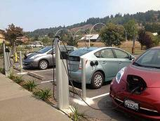 Electric vehicles charging at a Blue Lake Rancheria public charging station