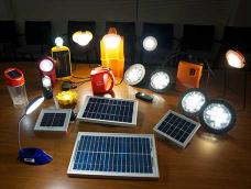 A selection of solar LED lighting devices